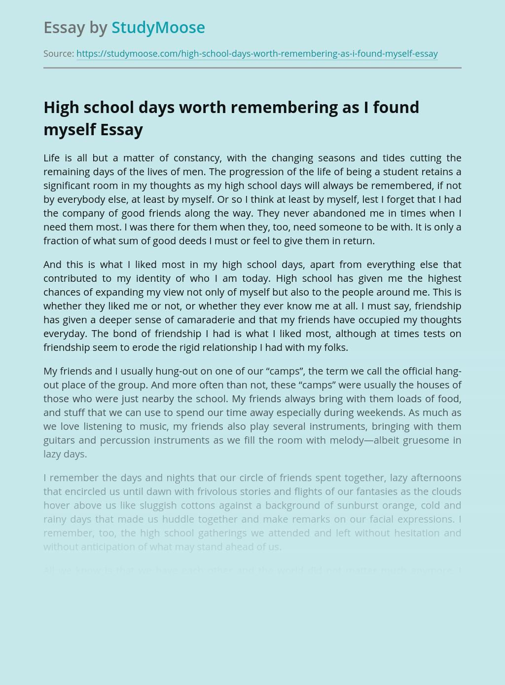 High school days worth remembering as I found myself