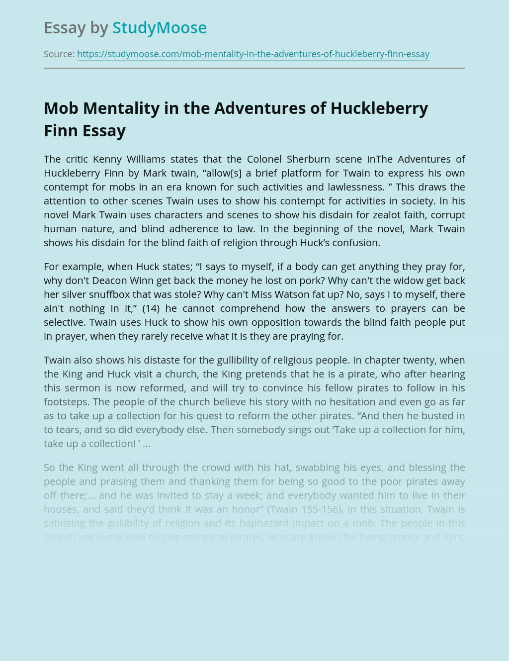Mob Mentality in the Adventures of Huckleberry Finn