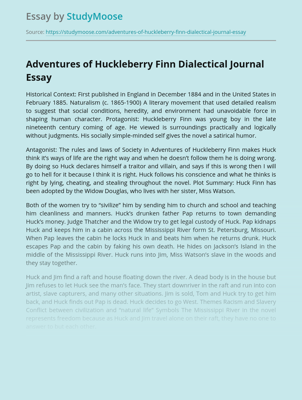 Adventures of Huckleberry Finn Dialectical Journal