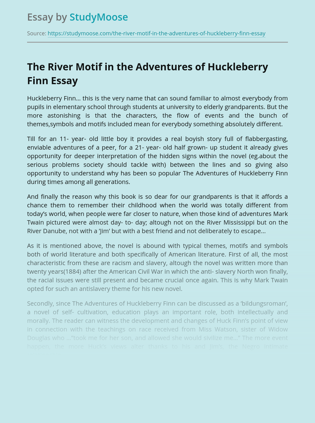 The River Motif in the Adventures of Huckleberry Finn