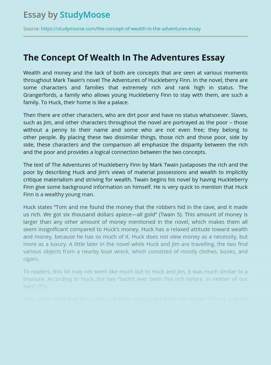 The Concept Of Wealth In The Adventures
