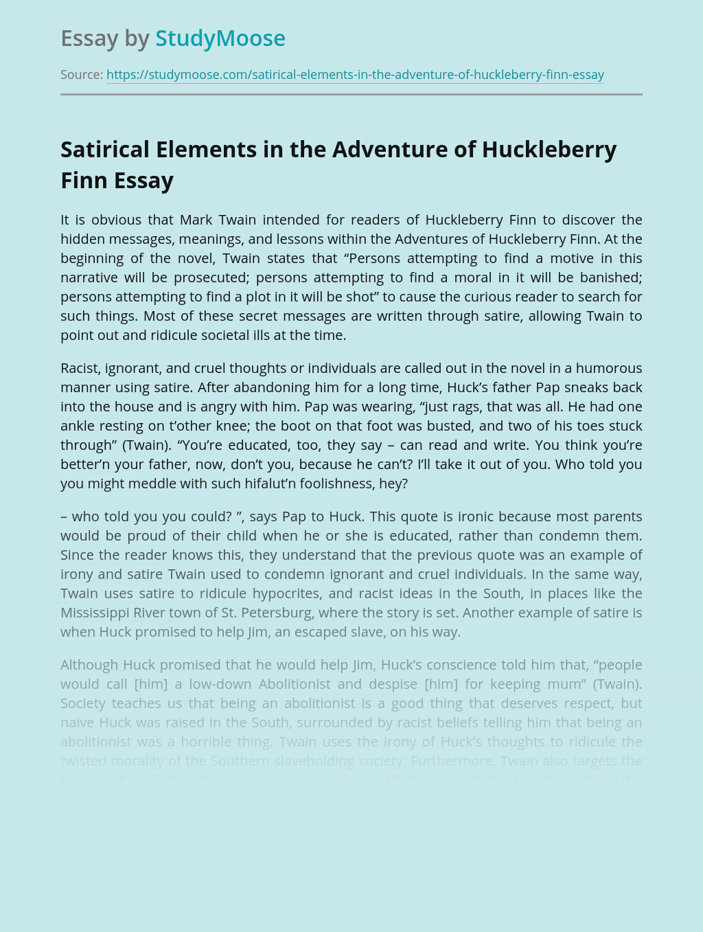 Satirical Elements in the Adventure of Huckleberry Finn