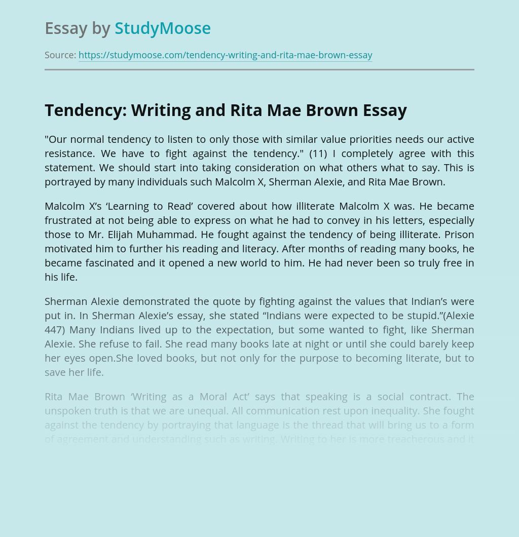 Tendency: Writing and Rita Mae Brown