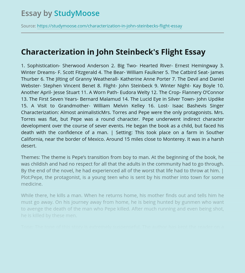 Characterization in John Steinbeck's Flight