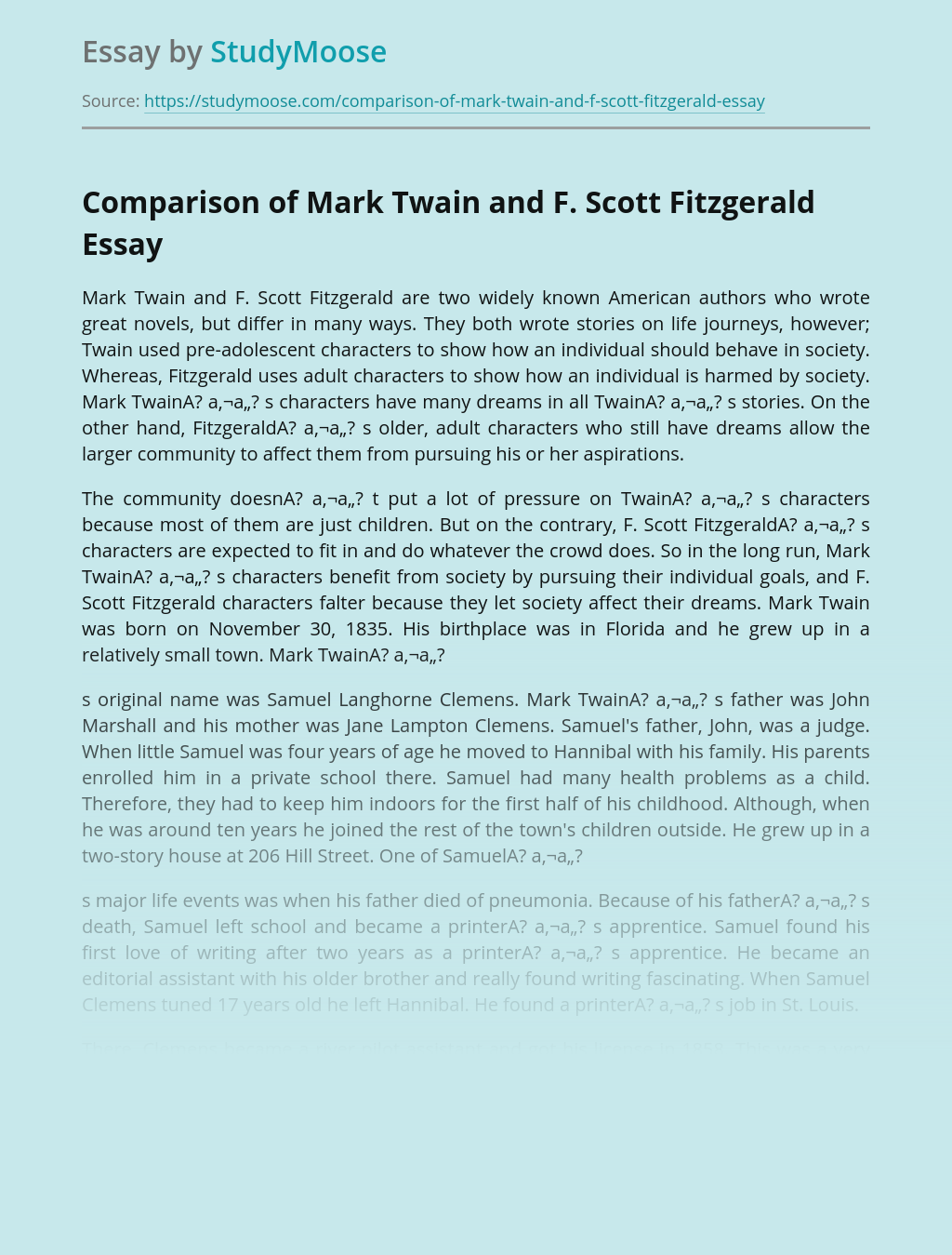 Comparison of Mark Twain and F. Scott Fitzgerald