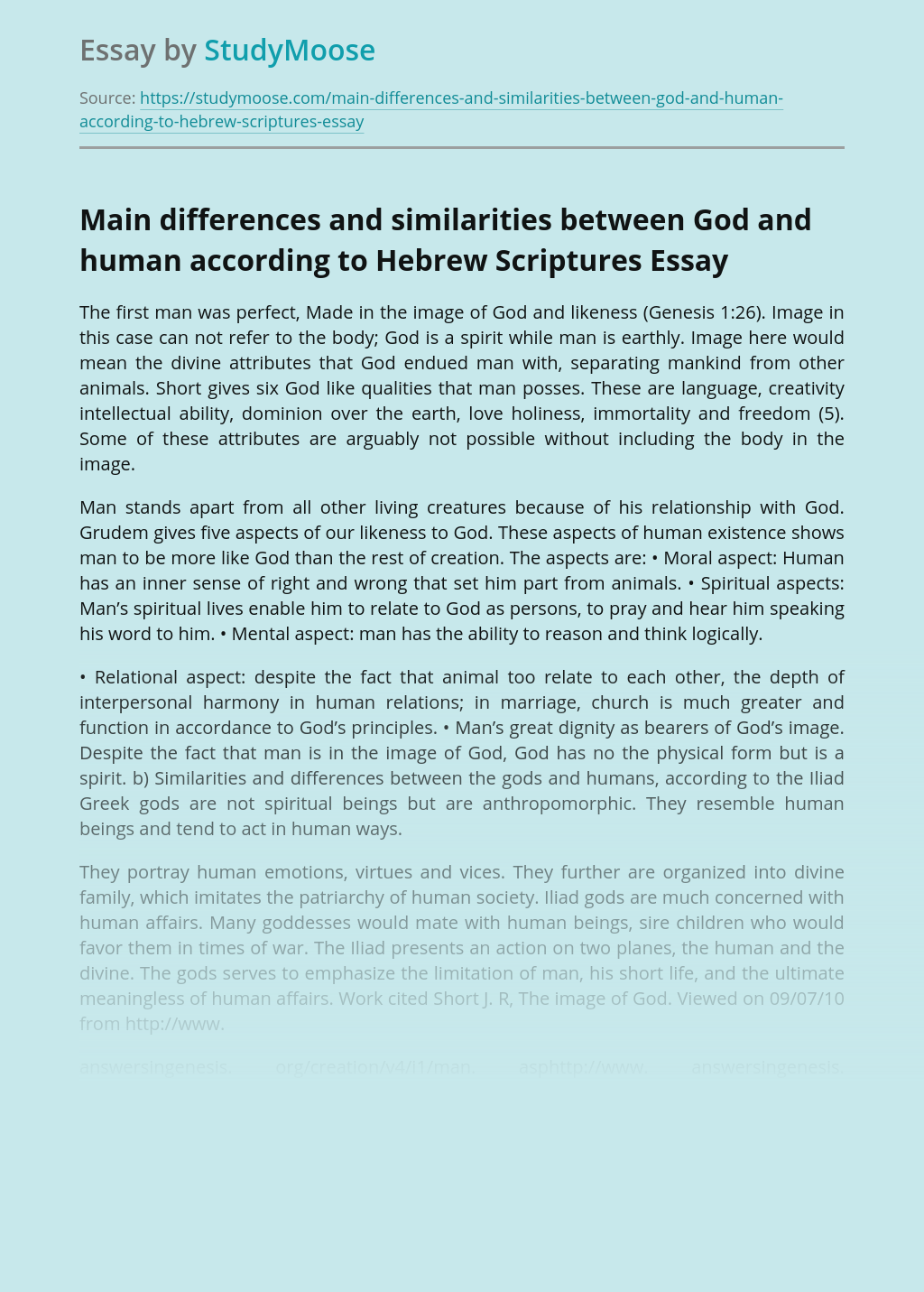 Main differences and similarities between God and human according to Hebrew Scriptures