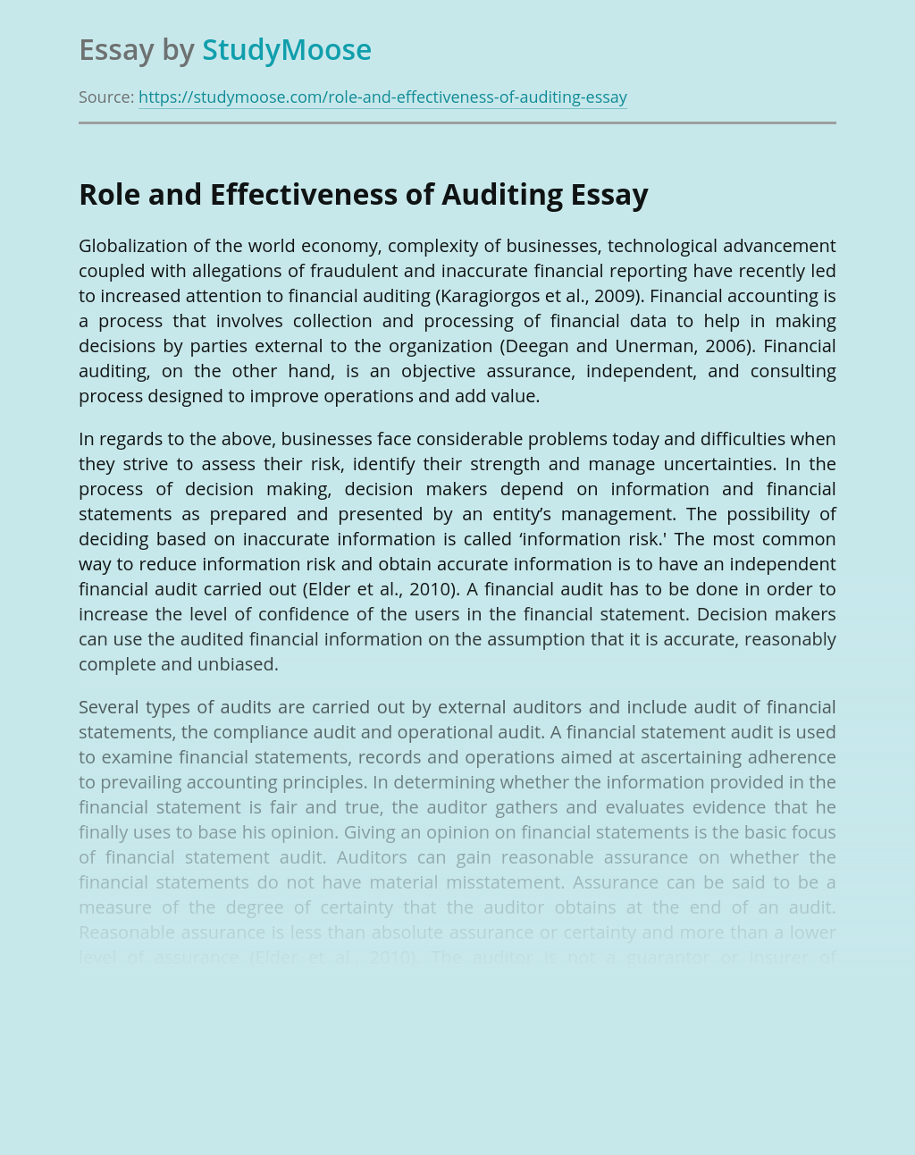 Role and Effectiveness of Auditing in Business