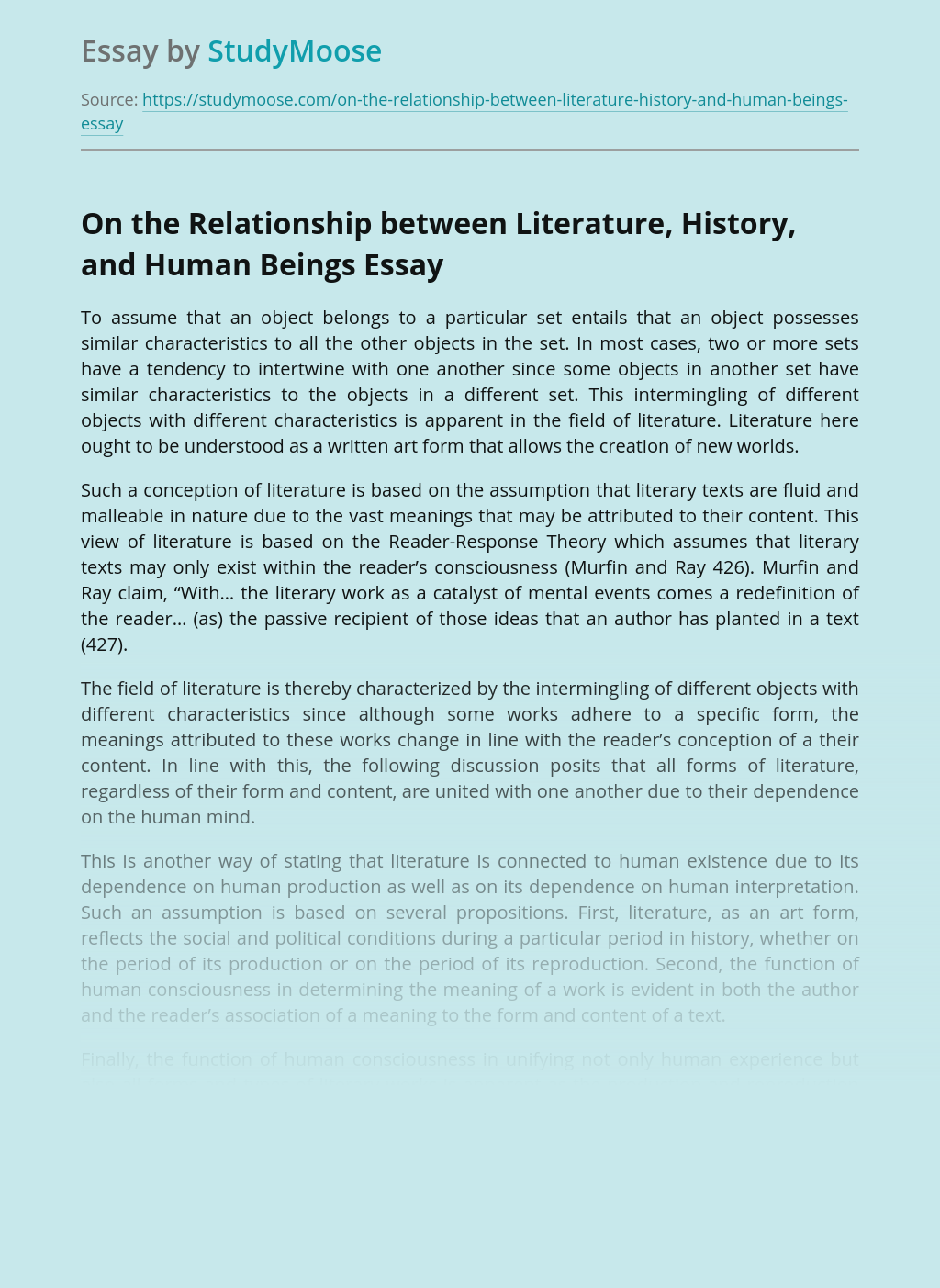 On the Relationship between Literature, History, and Human Beings