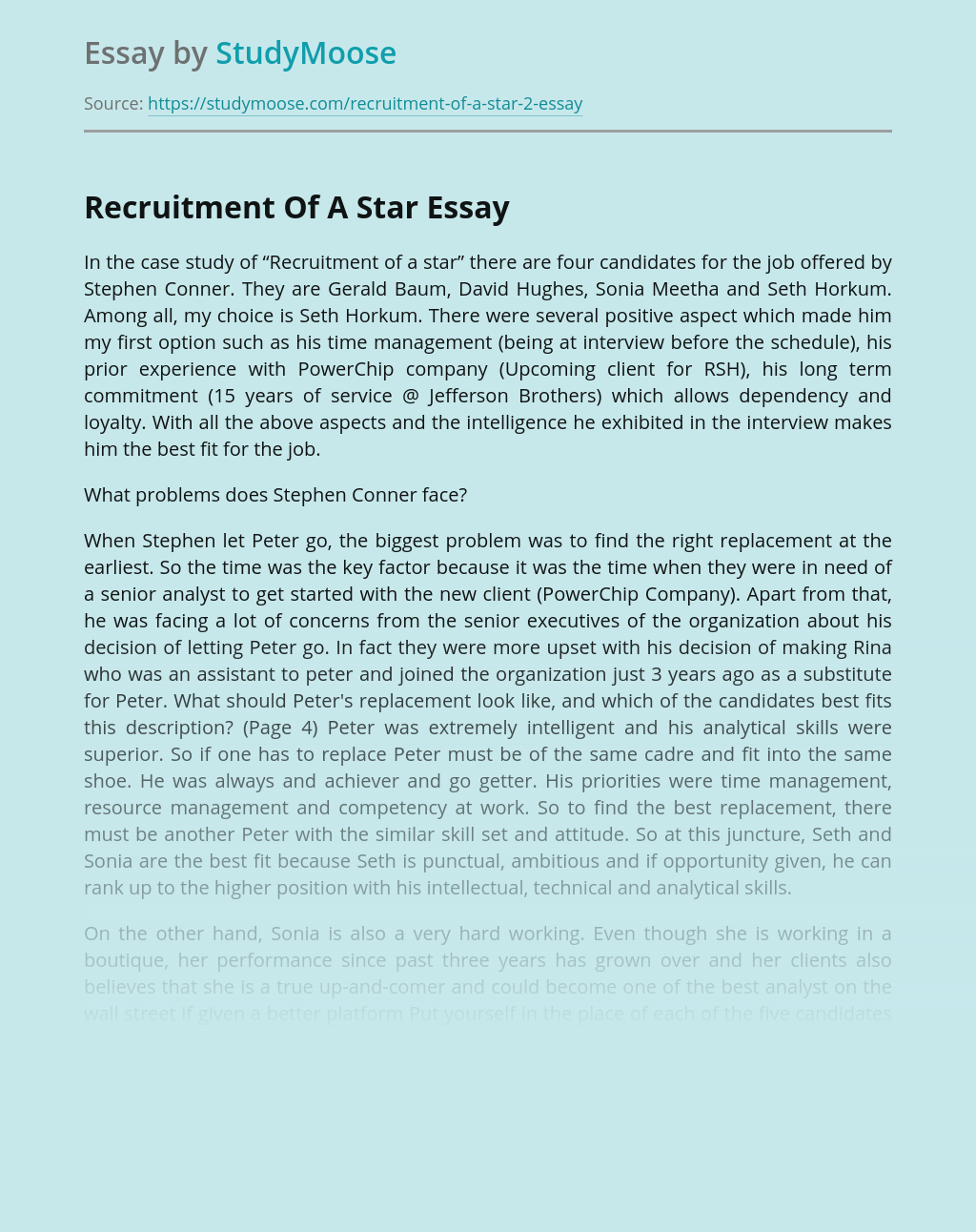 Case Study Of Recruitment Of A Star