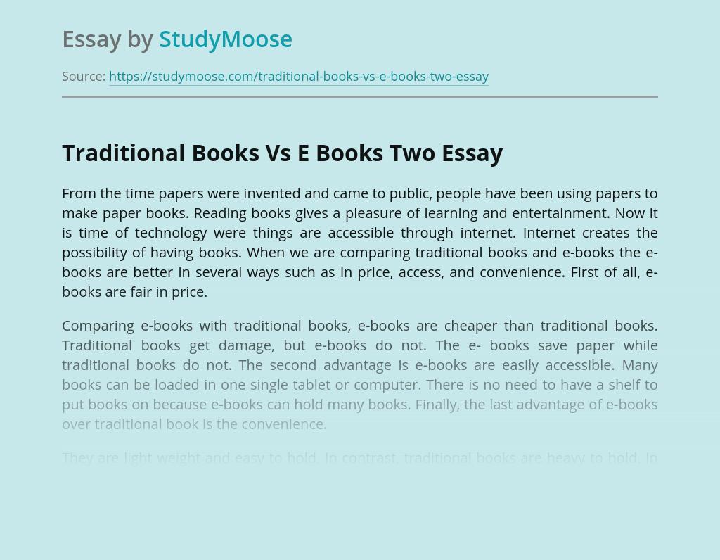Traditional Books Vs E Books Two