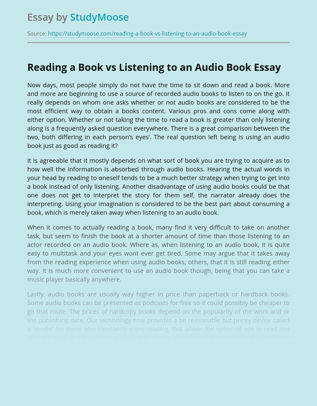 Reading a Book vs Listening to an Audio Book