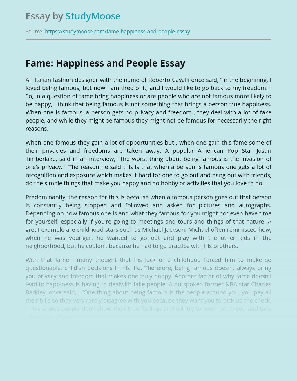 Fame: Happiness and People