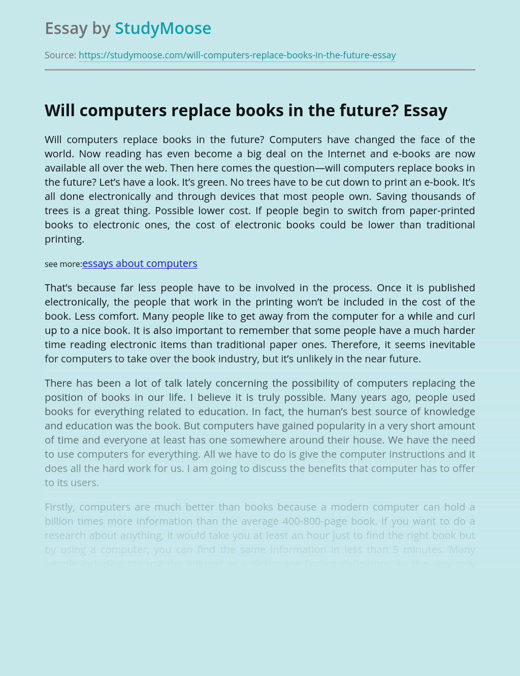 Will computers replace books in the future?