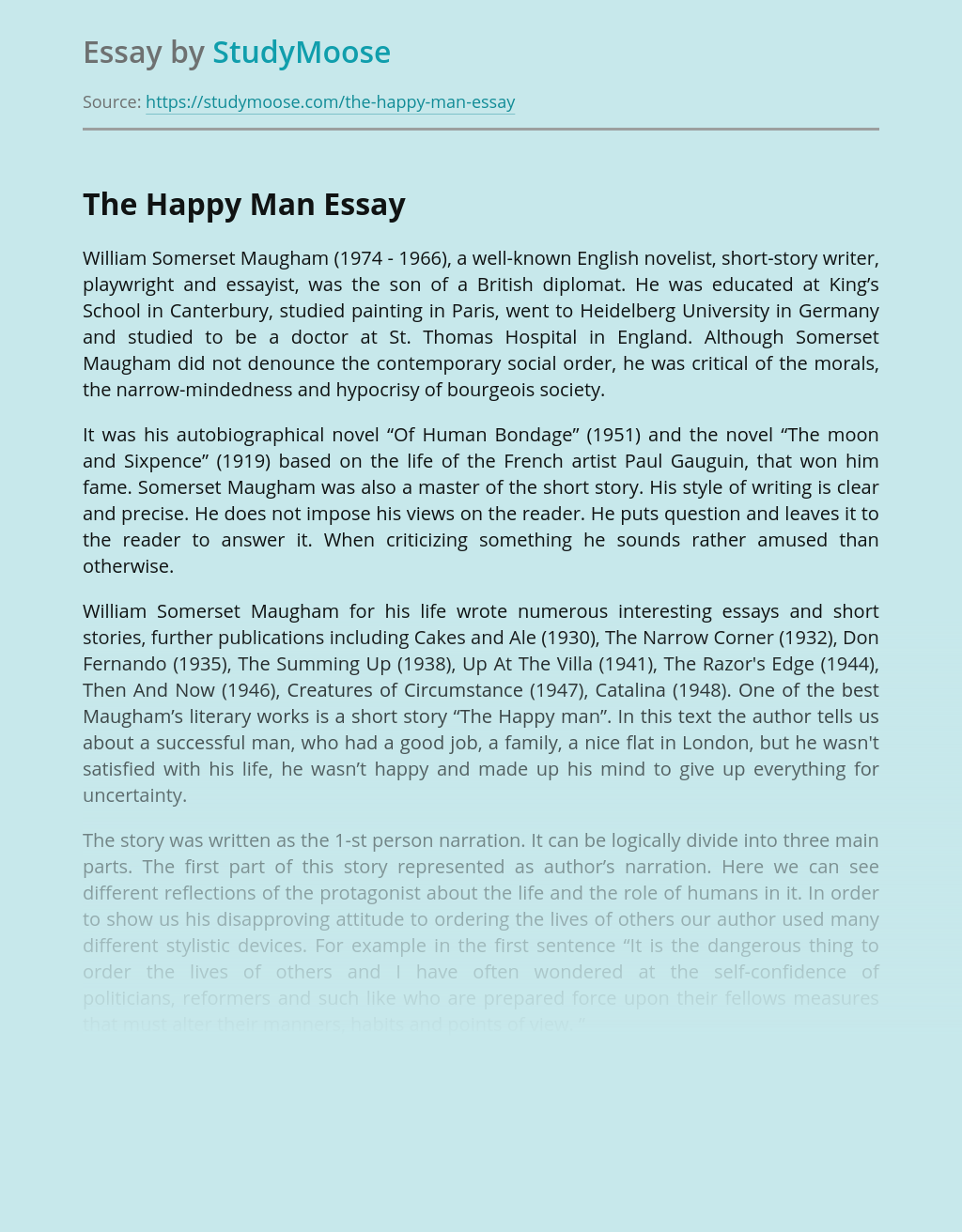 "Analysis of ""The Happy Man"" by William Somerset Maugham"
