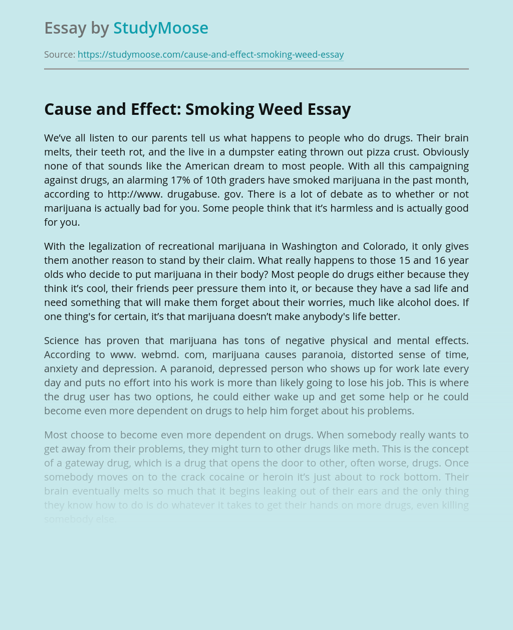 Cause and Effect: Smoking Weed