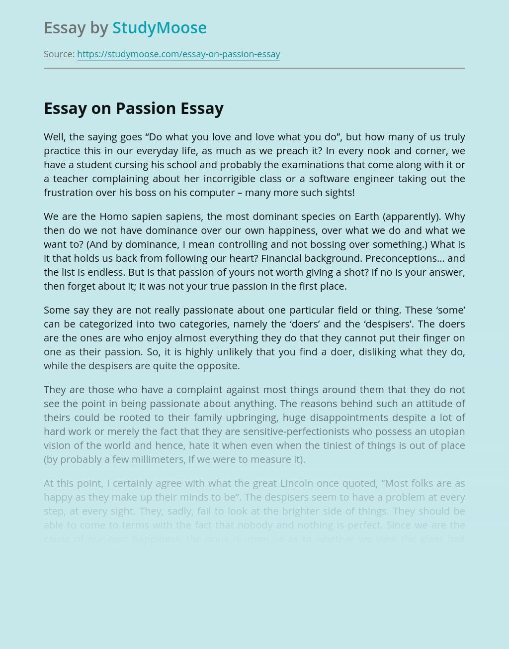 Essay on Passion