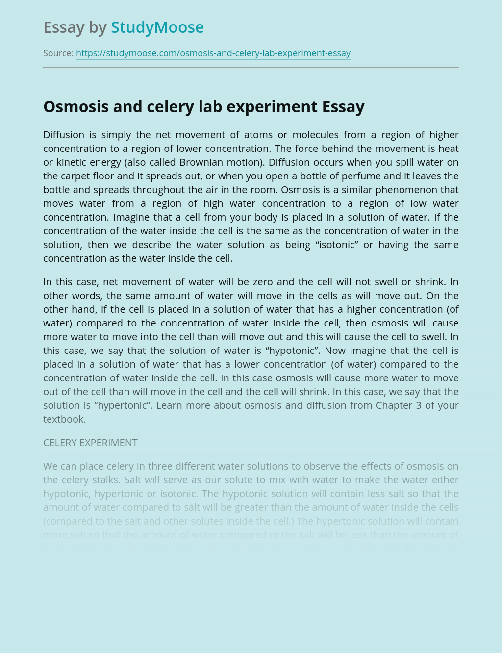 Osmosis and celery lab experiment
