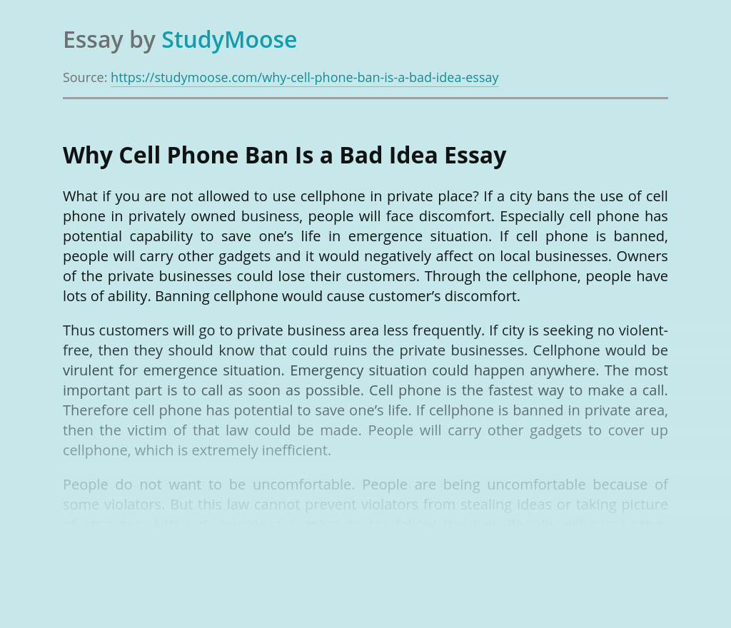 Why Cell Phone Ban Is a Bad Idea