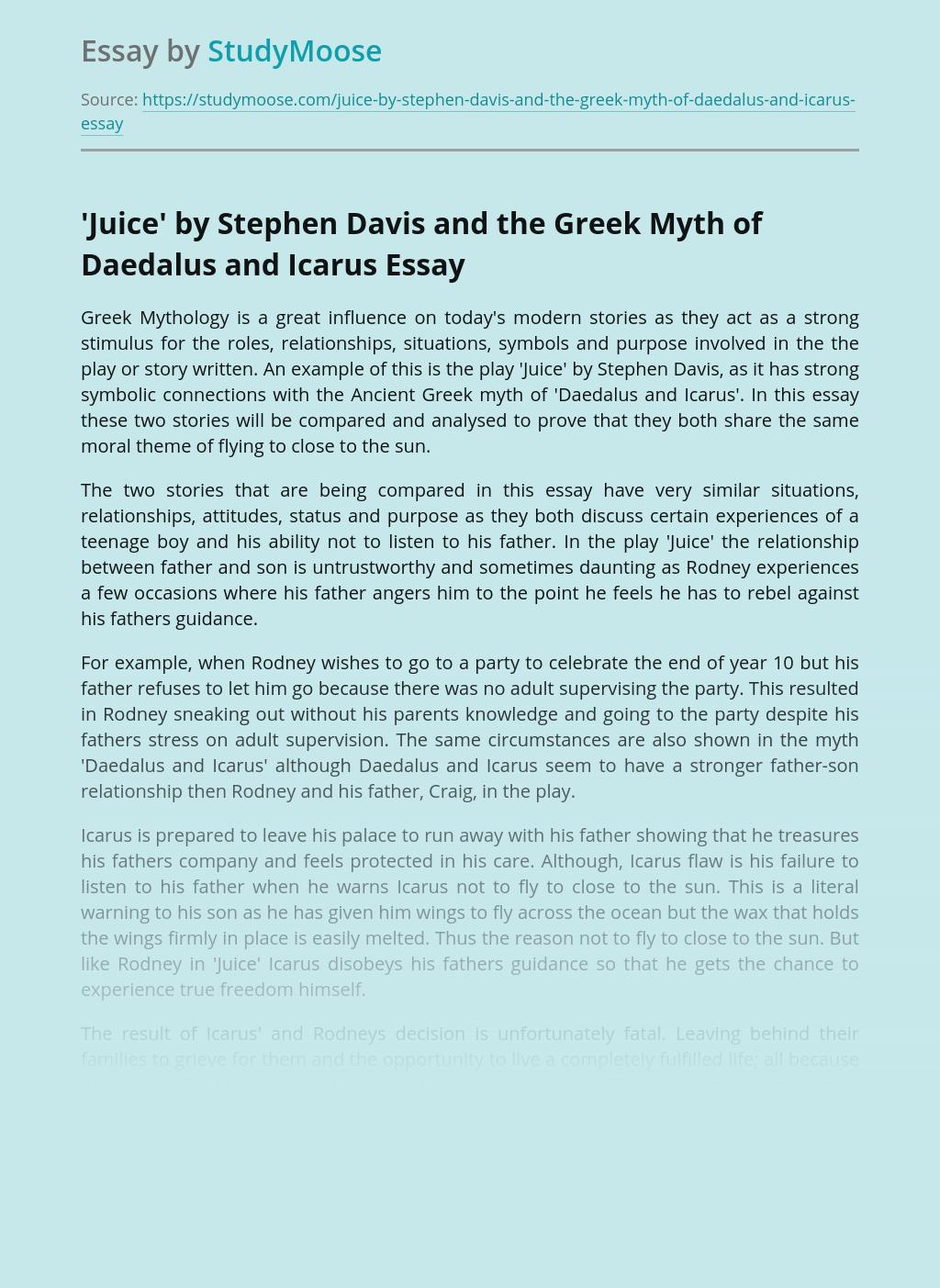 Influence of Greek Mythology on Juice by Stephen Davis