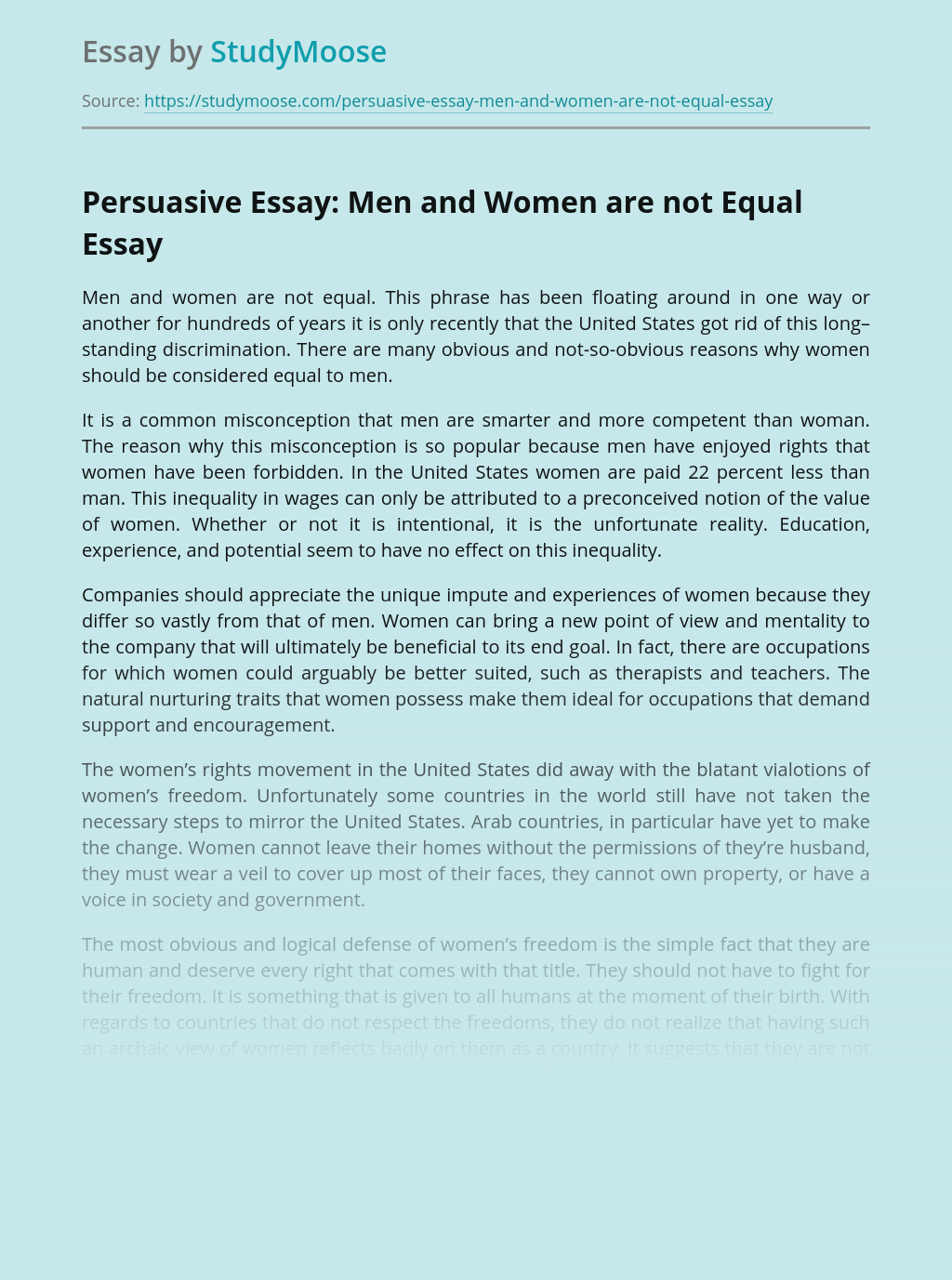 Persuasive Essay: Men and Women are not Equal