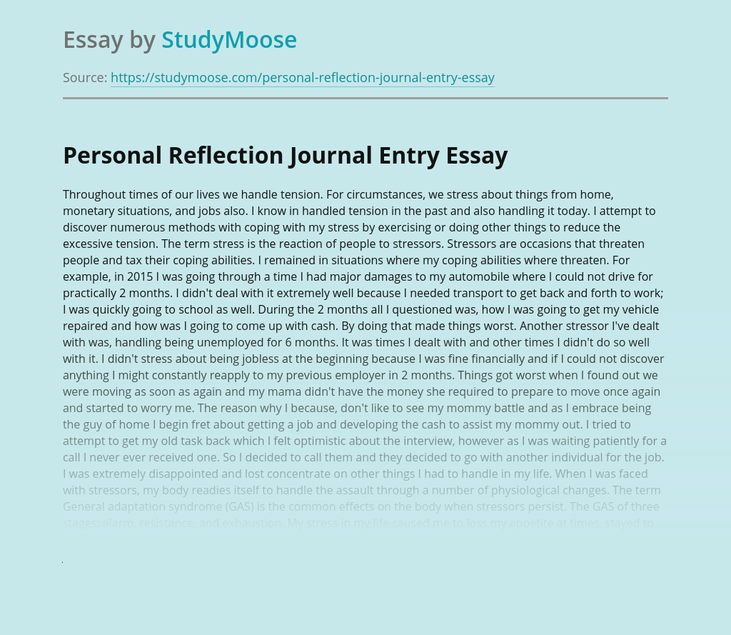 Personal Reflection Journal Entry