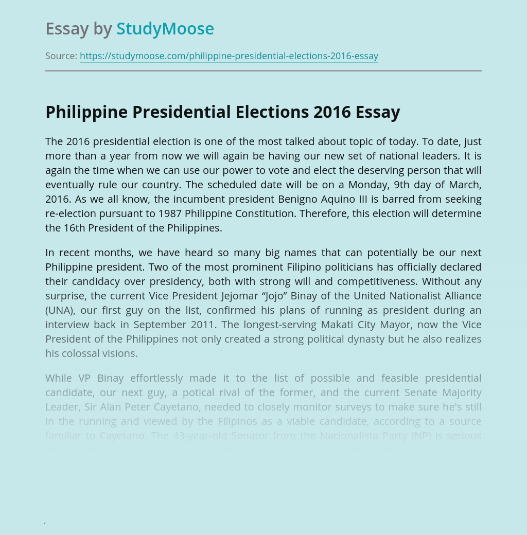 Philippine Presidential Elections 2016