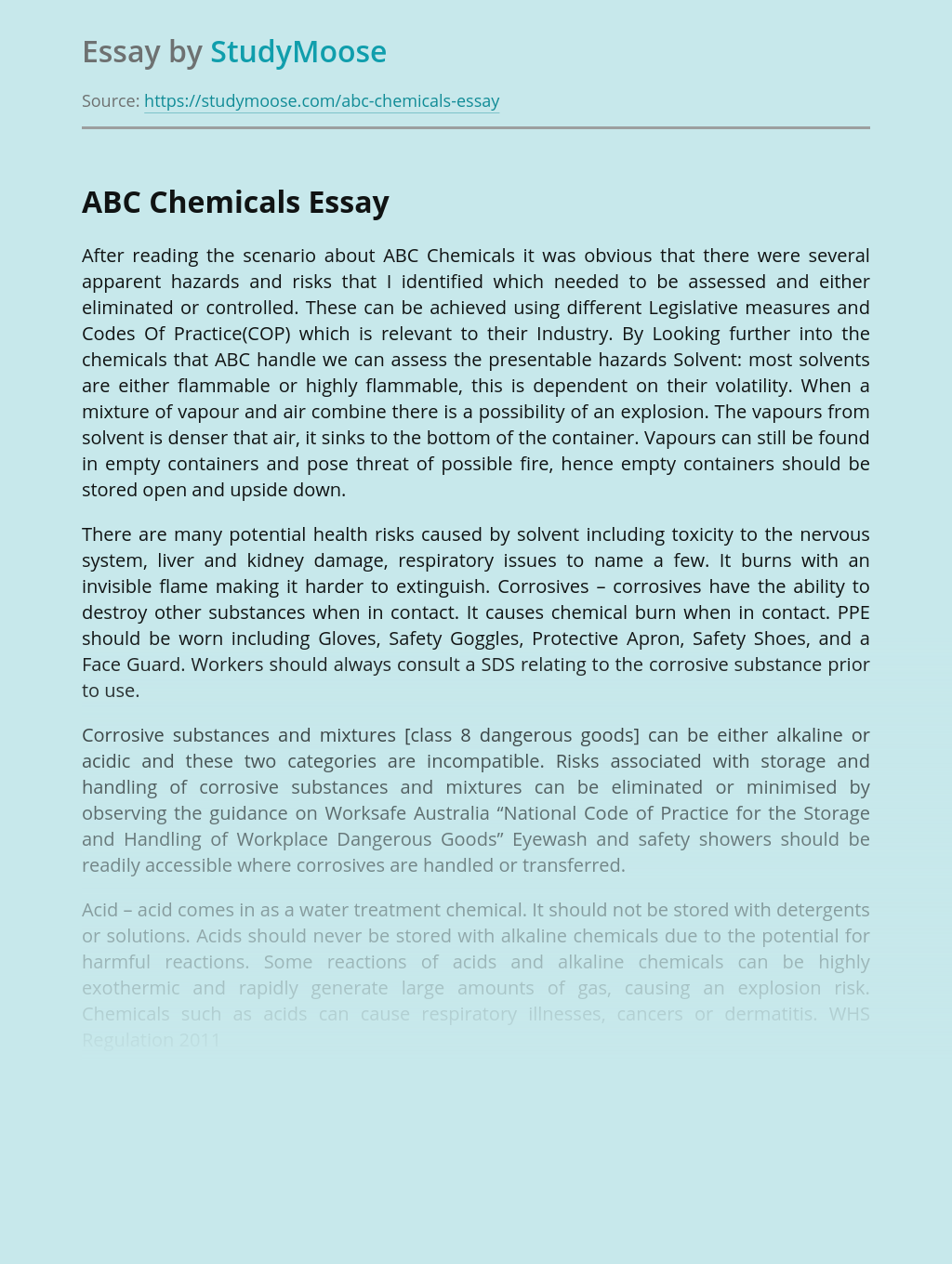 ABC Chemicals: Avoiding Workplace Chemical Hazards