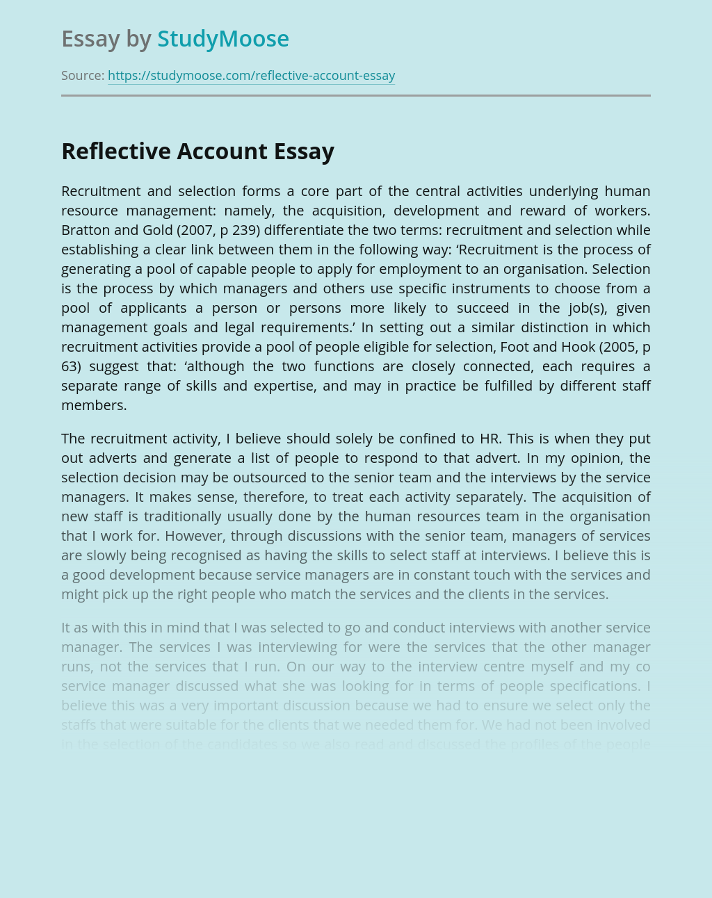 Reflective Account