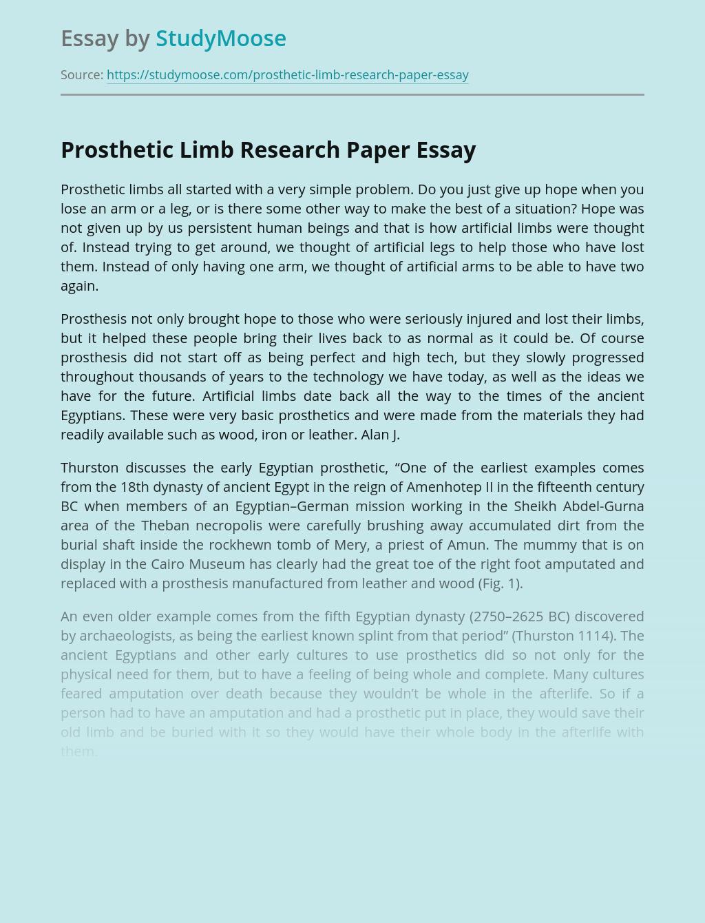 Prosthetic Limb Research Paper