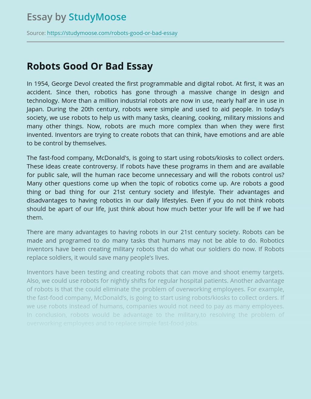 Robots Good Or Bad