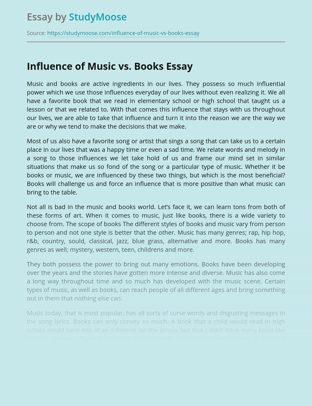 Influence of Music vs. Books