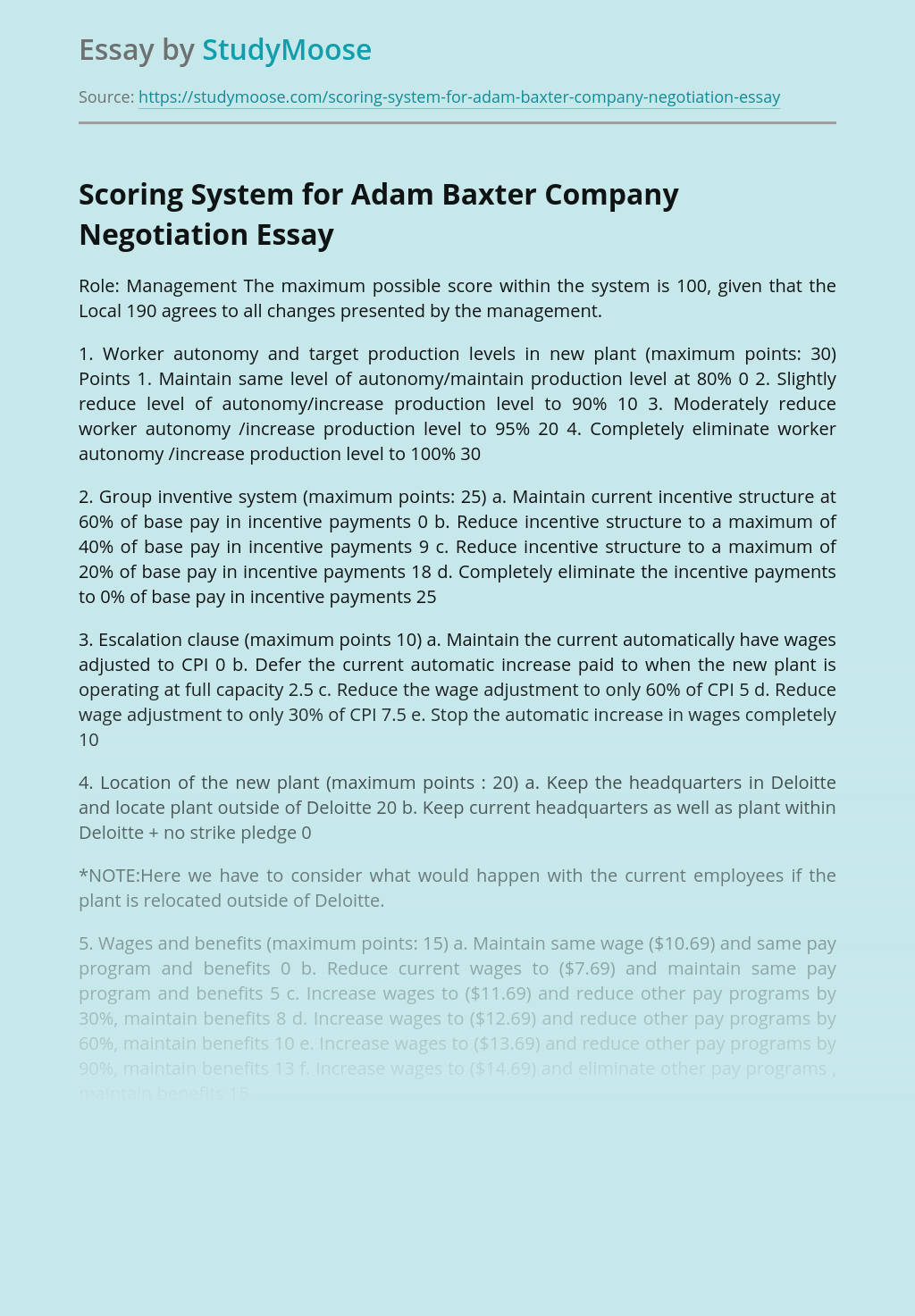 Scoring System for Adam Baxter Company Negotiation