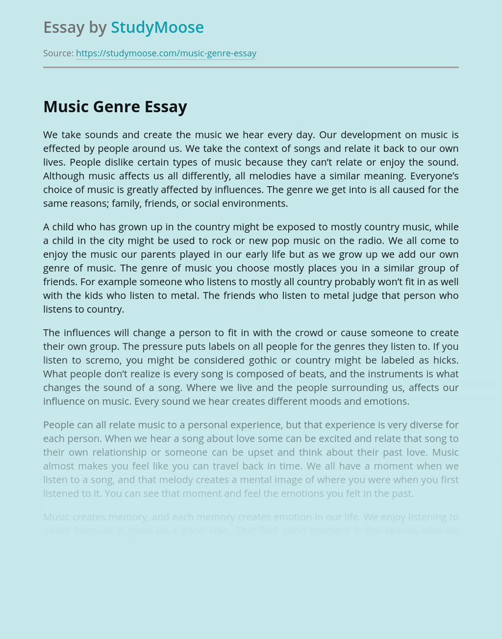 Essay for music