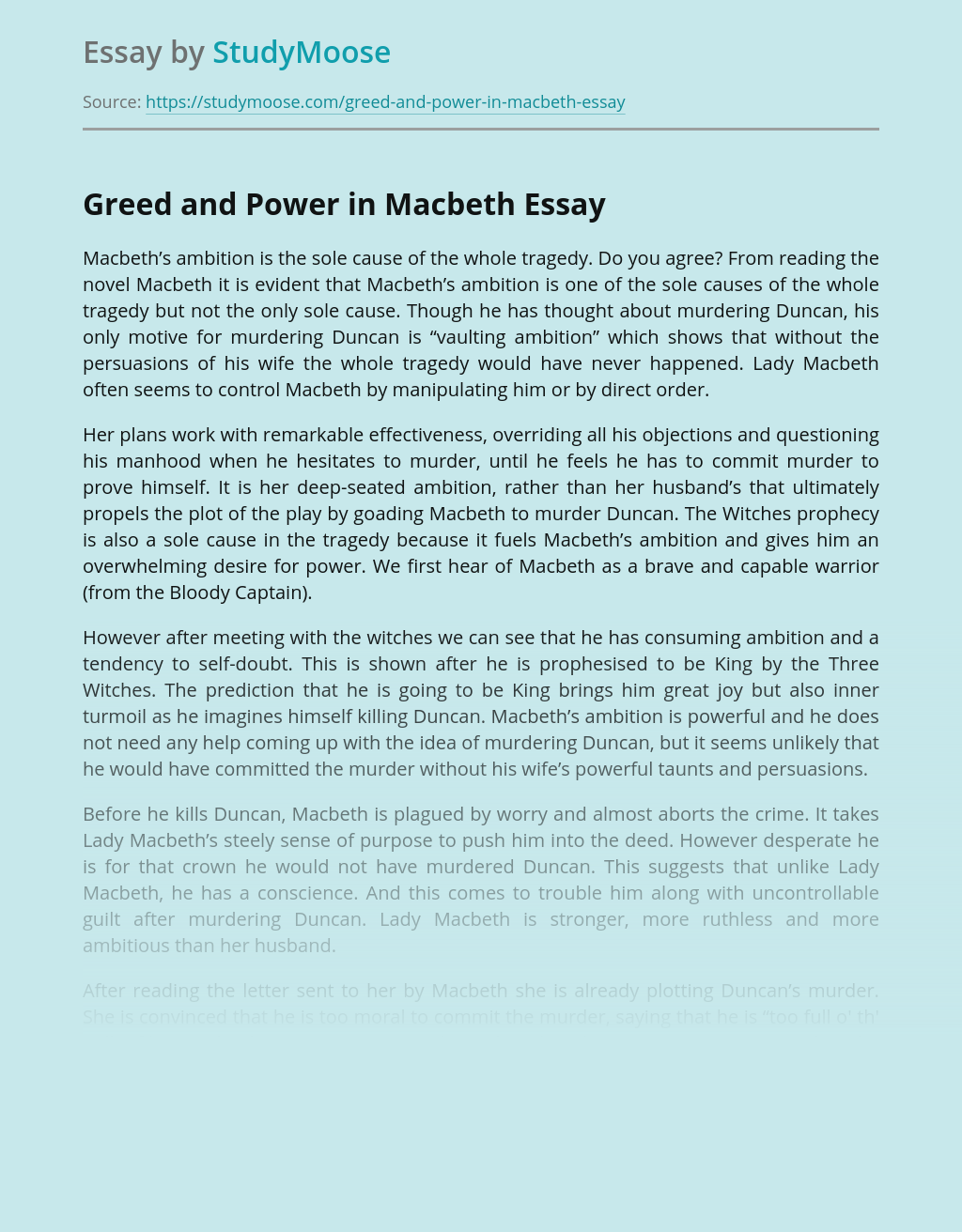 Greed and Power in Macbeth