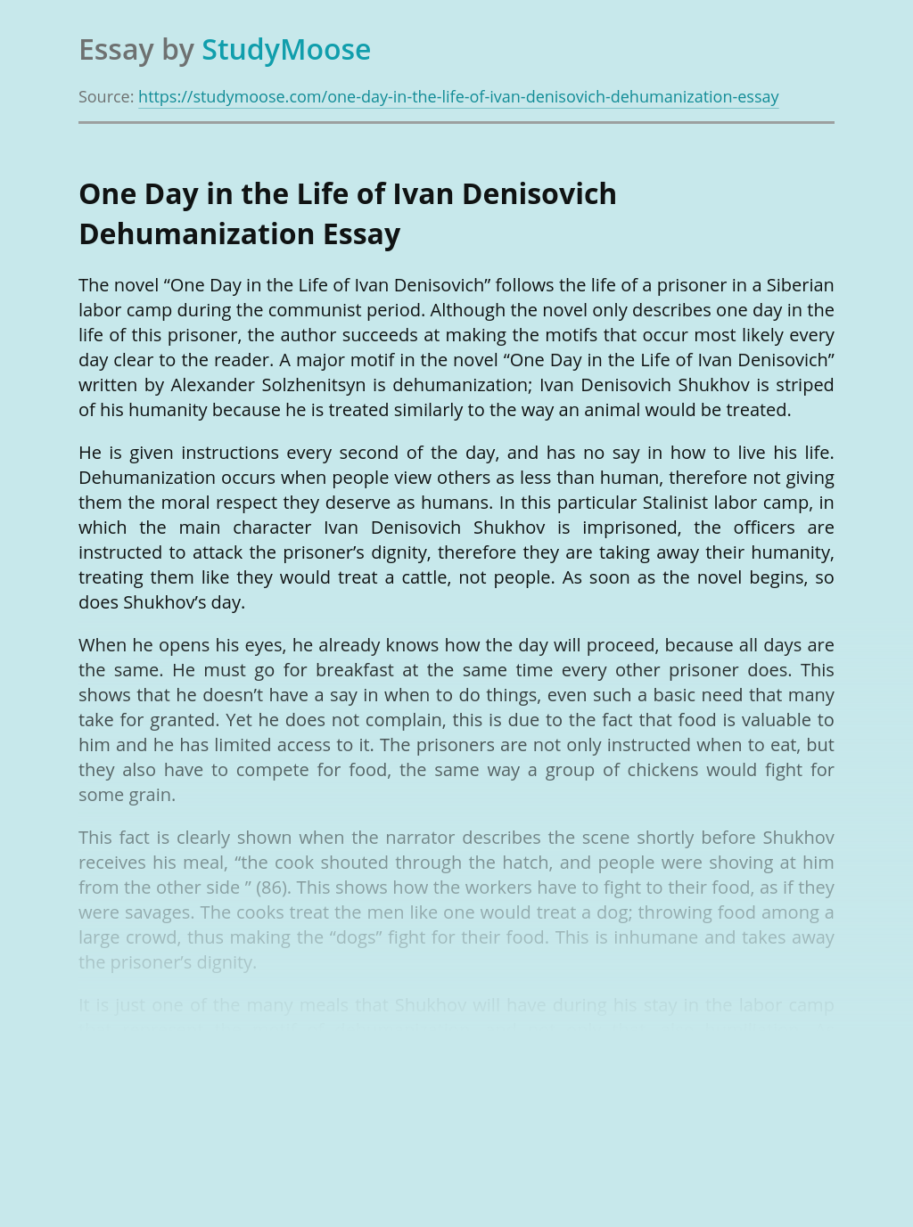 One Day in the Life of Ivan Denisovich Dehumanization