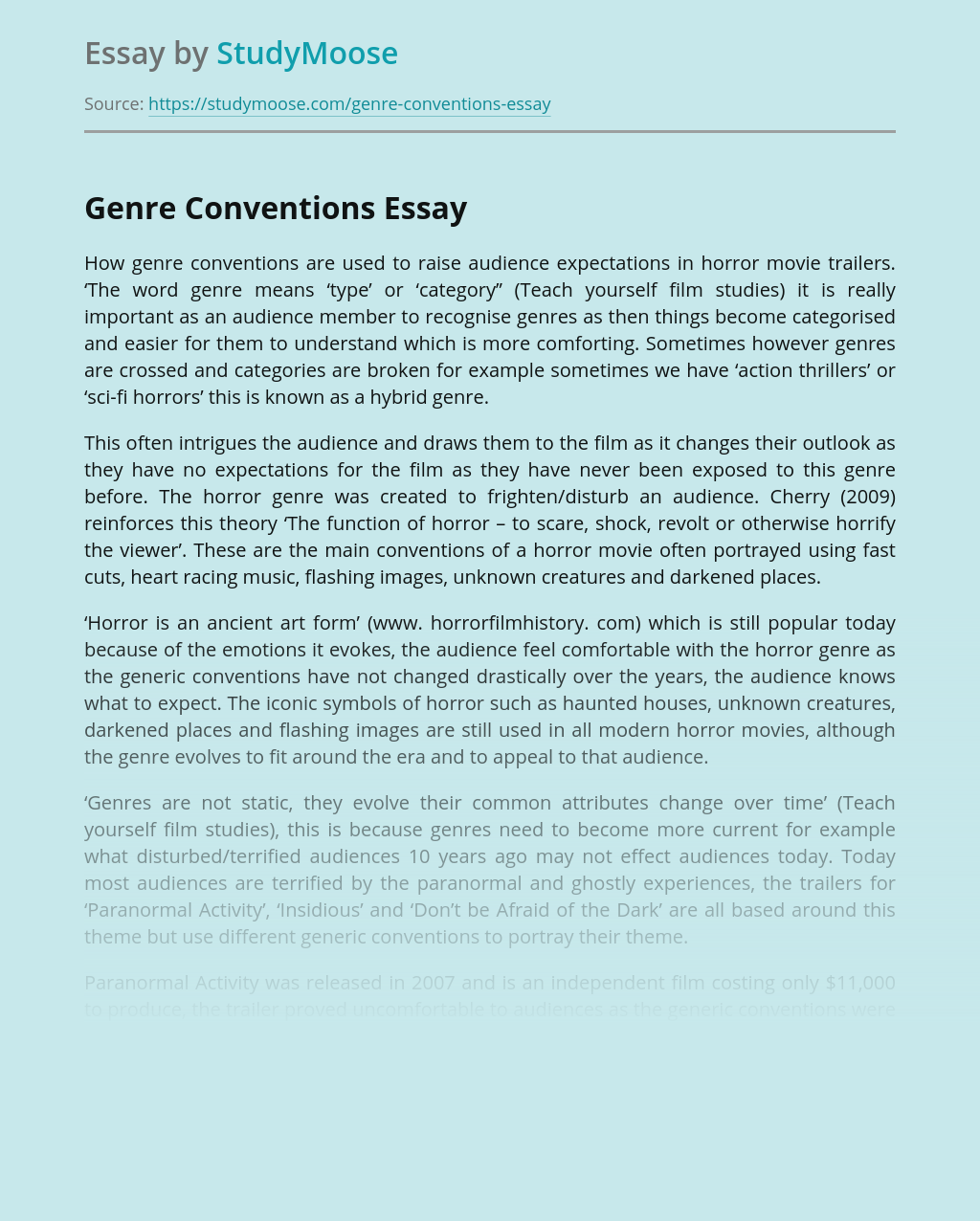 Conventions in the Horror Genre