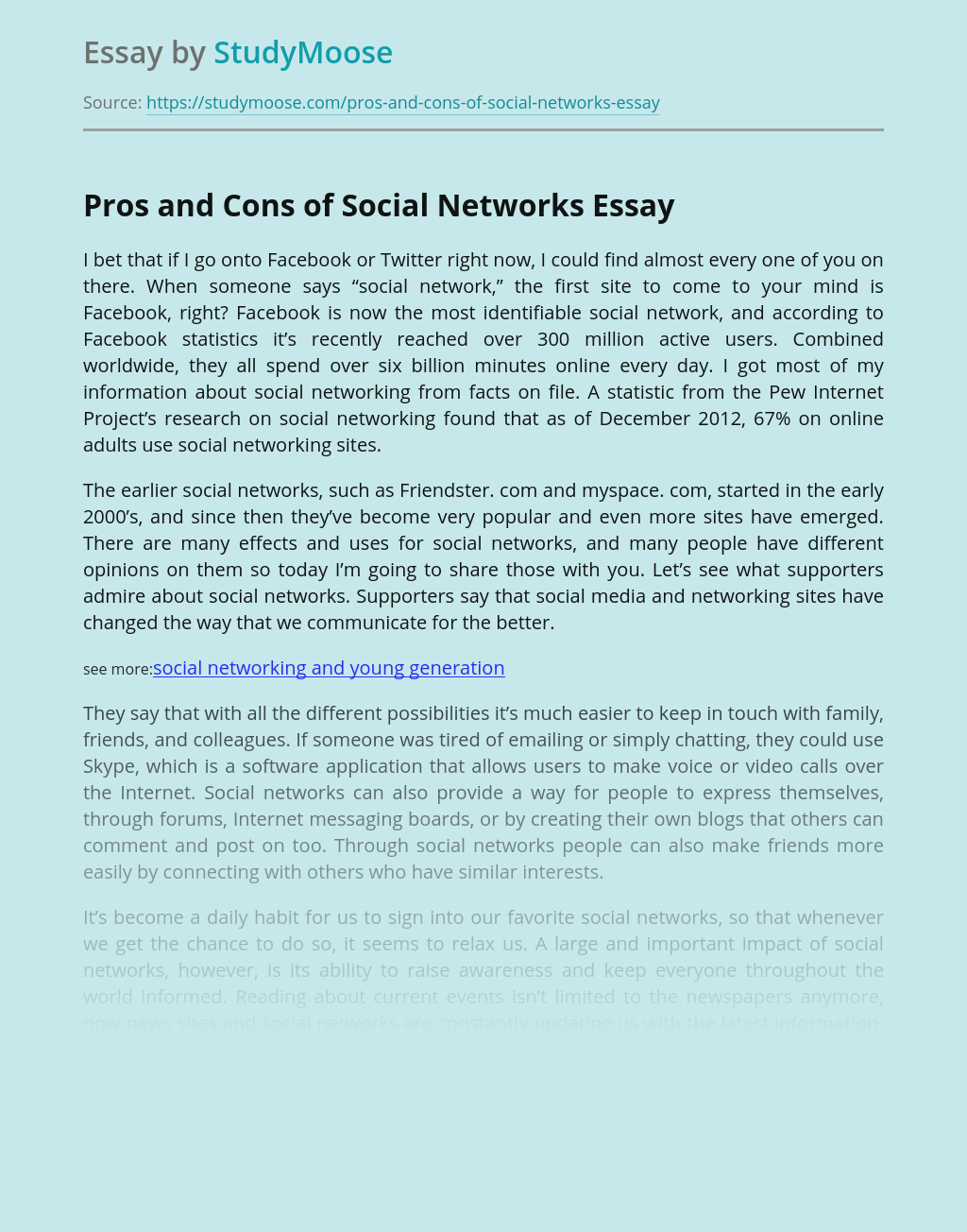 Pros and Cons of Social Networks