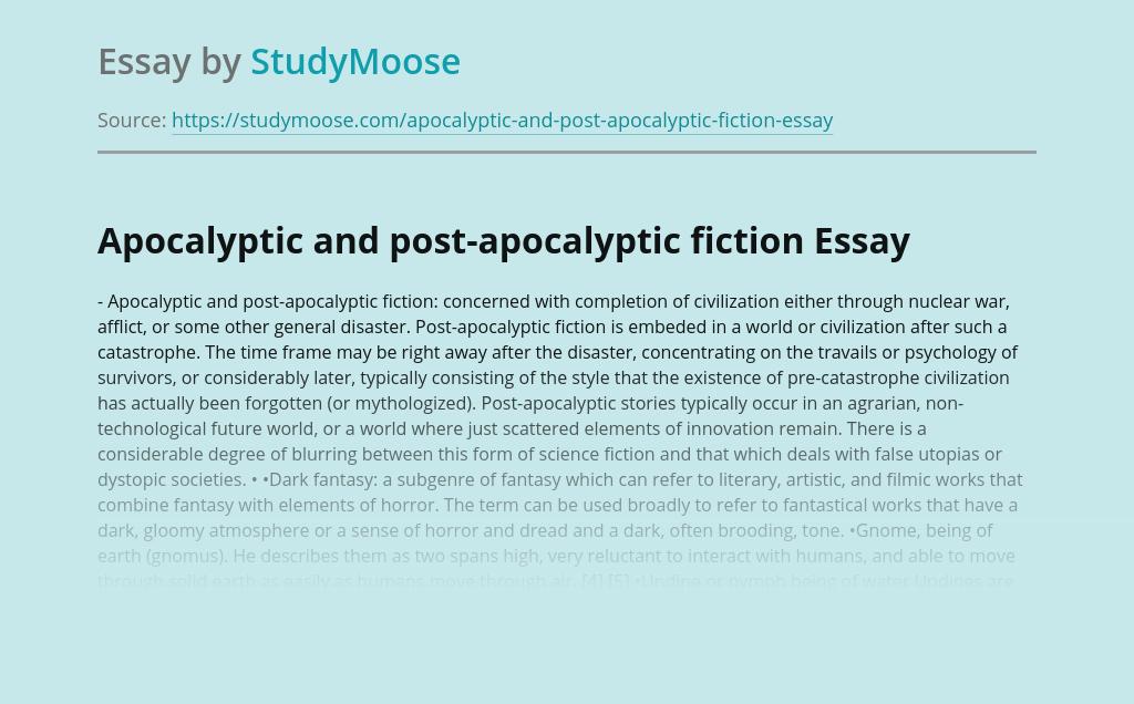 Apocalyptic and post-apocalyptic fiction