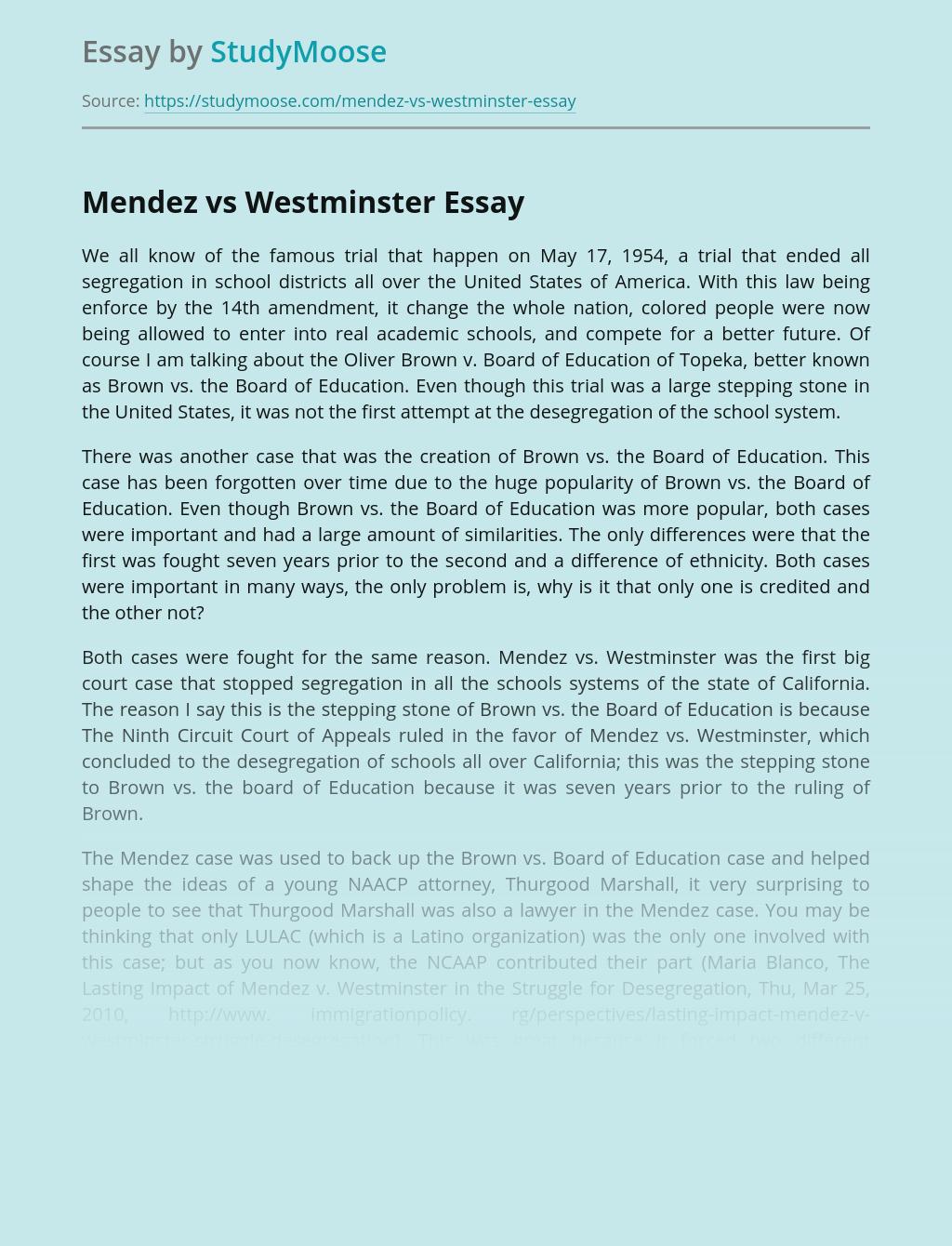 Mendez vs Westminster Court Case