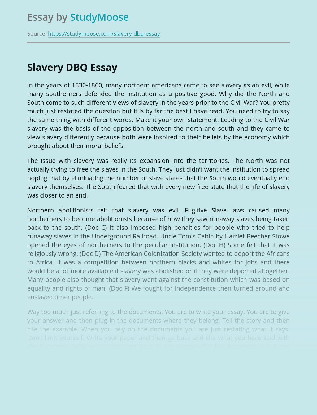 Slavery DBQ