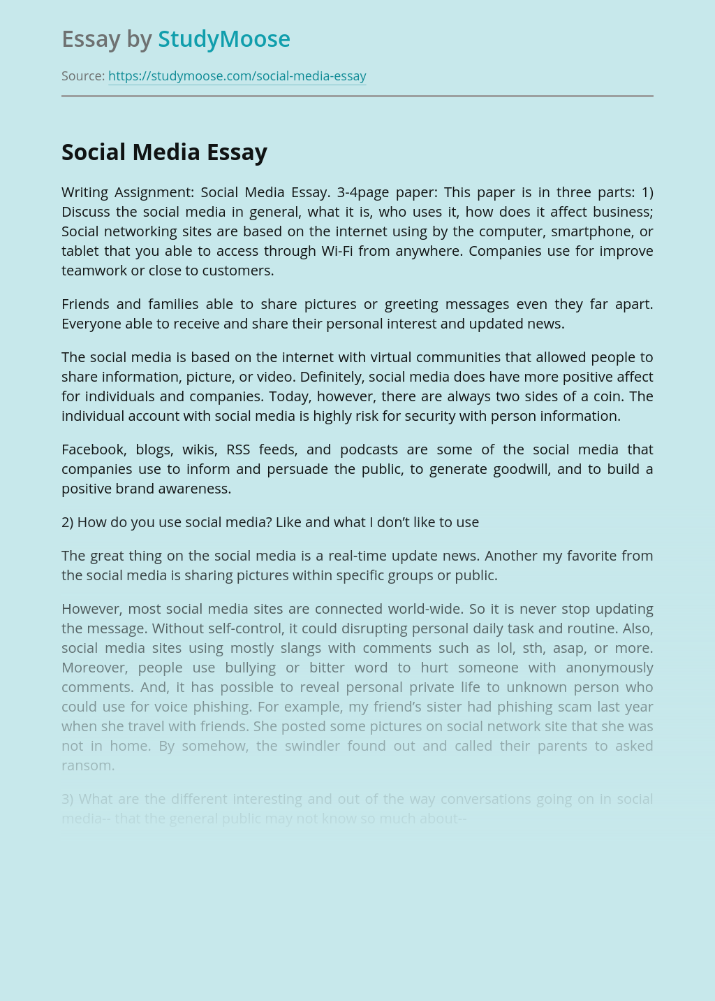 Social Media for Business Issues