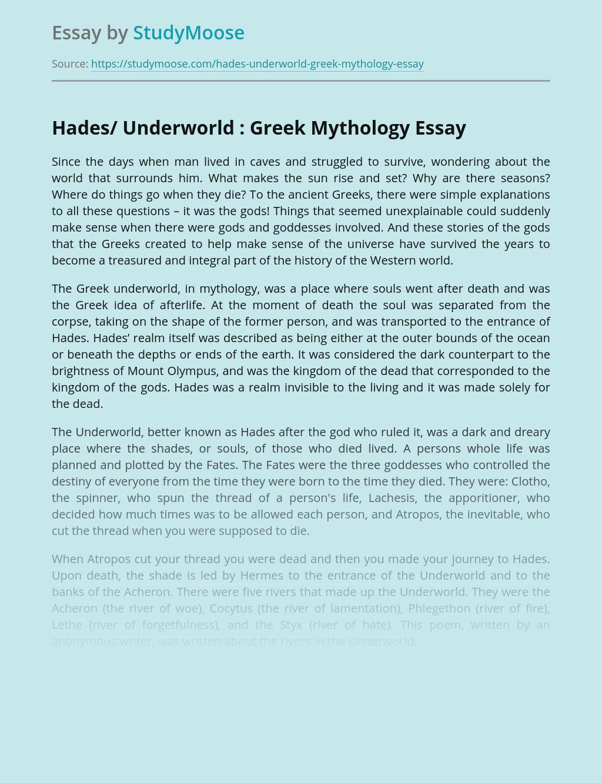 Hades/ Underworld : Greek Mythology