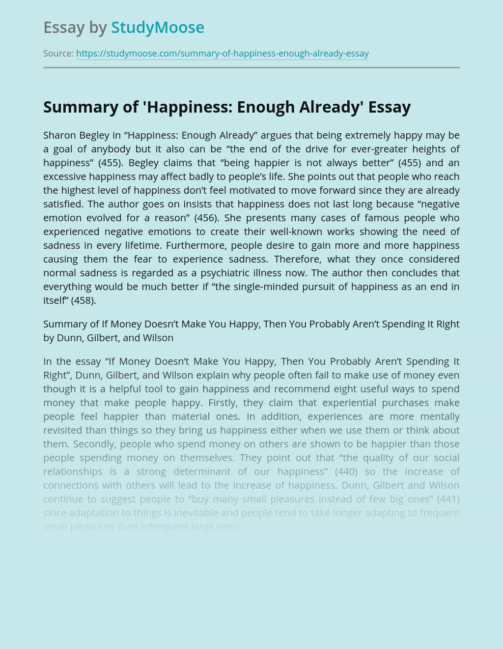 Summary of 'Happiness: Enough Already'