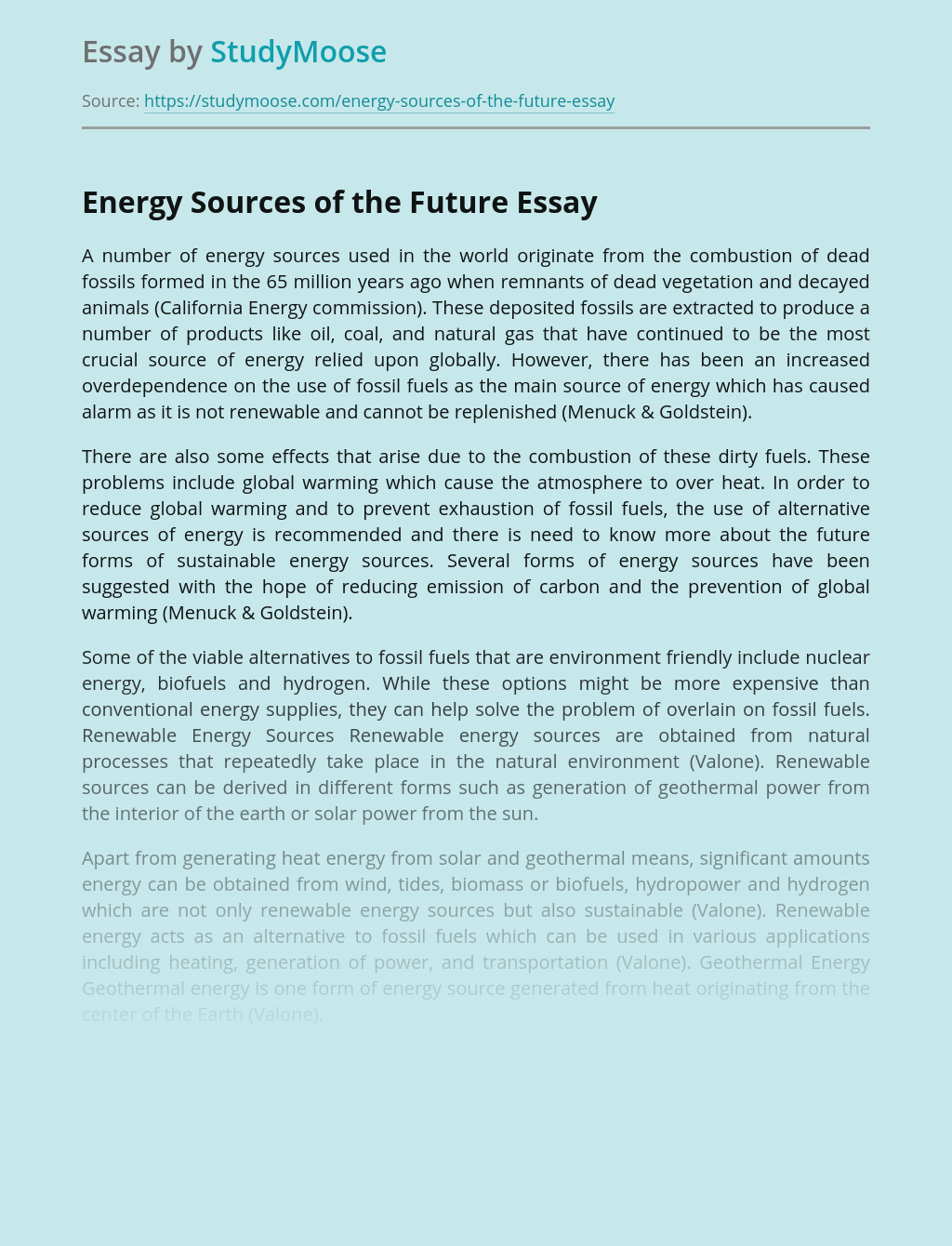 Energy Sources of the Future