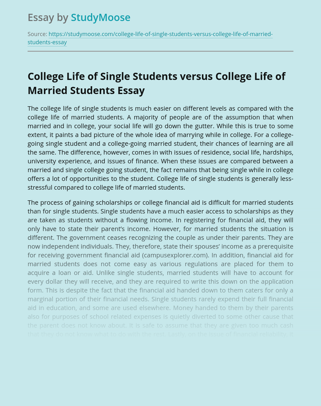 College Life of Single Students versus College Life of Married Students