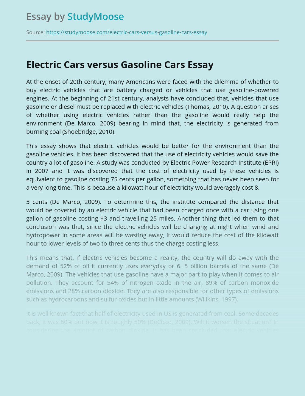 Electric Cars versus Gasoline Cars
