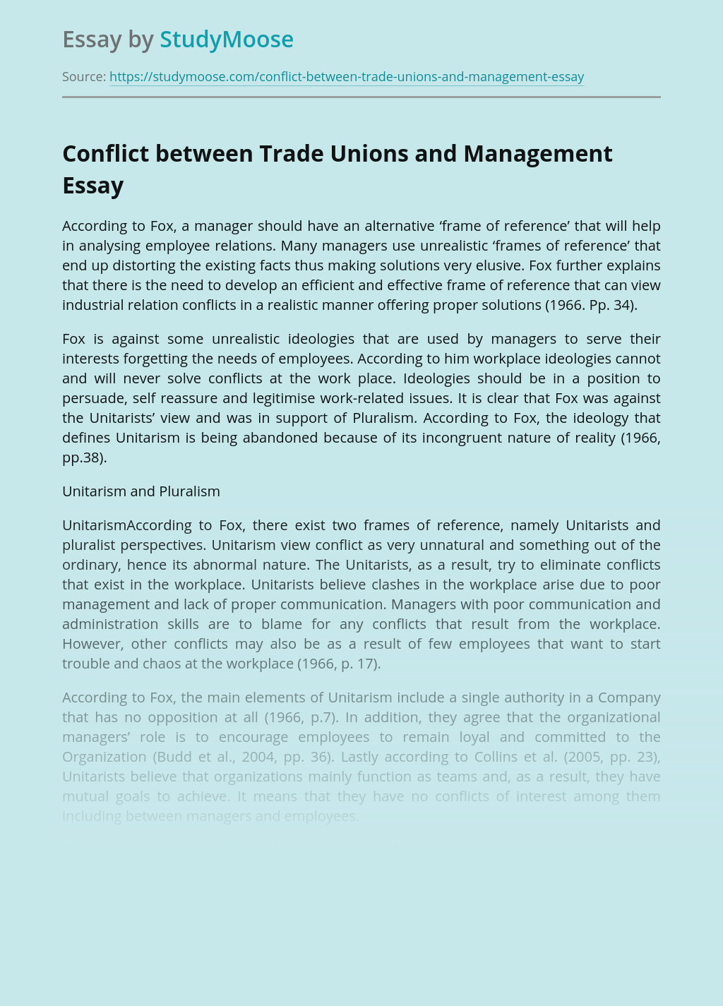 Conflict between Trade Unions and Management