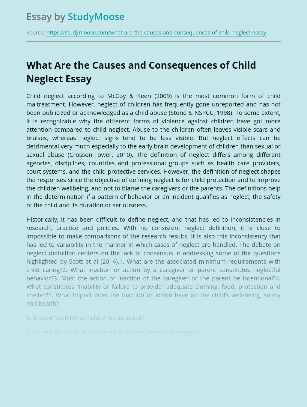 What Are the Causes and Consequences of Child Neglect