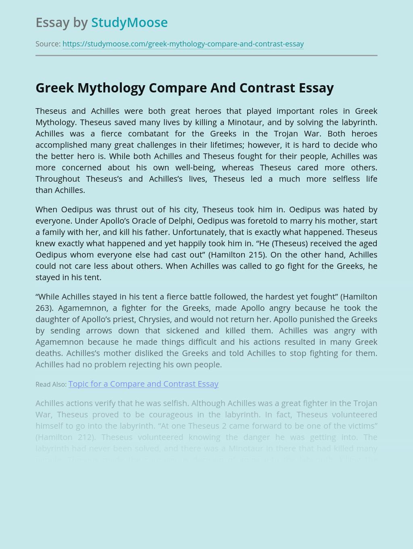 Greek Mythology Compare And Contrast