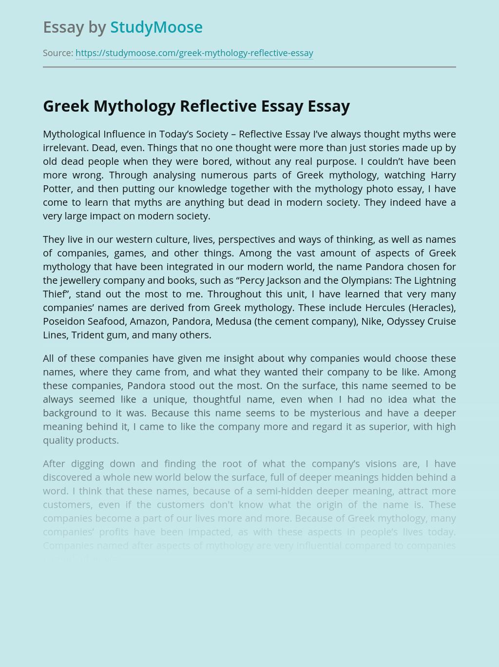 Greek Mythology Reflective Essay